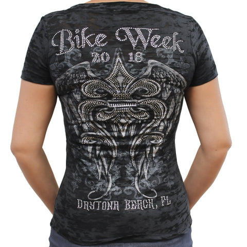 Ladies 2018 Bike Week Daytona Beach Rhinestone Fleur De Lis Wings Burnout V-Neck T-Shirt