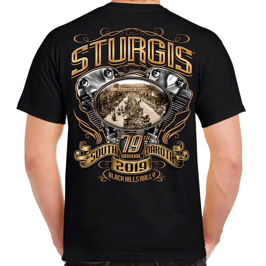 Back of 2019 Sturgis Main Street Engine T-Shirt in Black