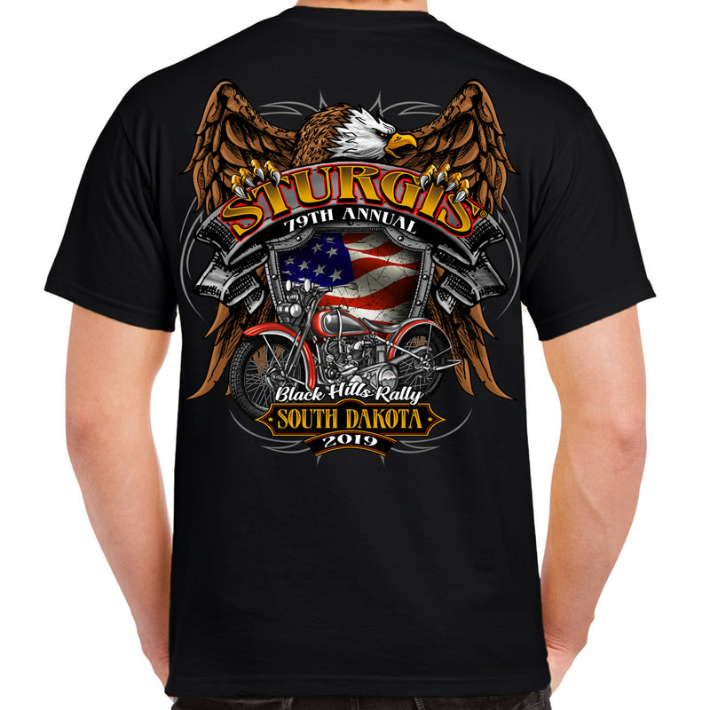 Back of 2019 Sturgis Rebel Rider T-Shirt in Military Green