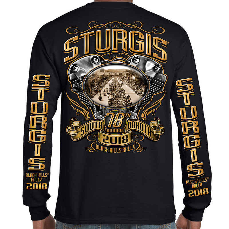 2018 Stugis Black Hills Rally Main Street Engine Long Sleeve Shirt
