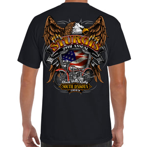Back of 2019 Sturgis Rebel Rider Pocket T-Shirt in Black