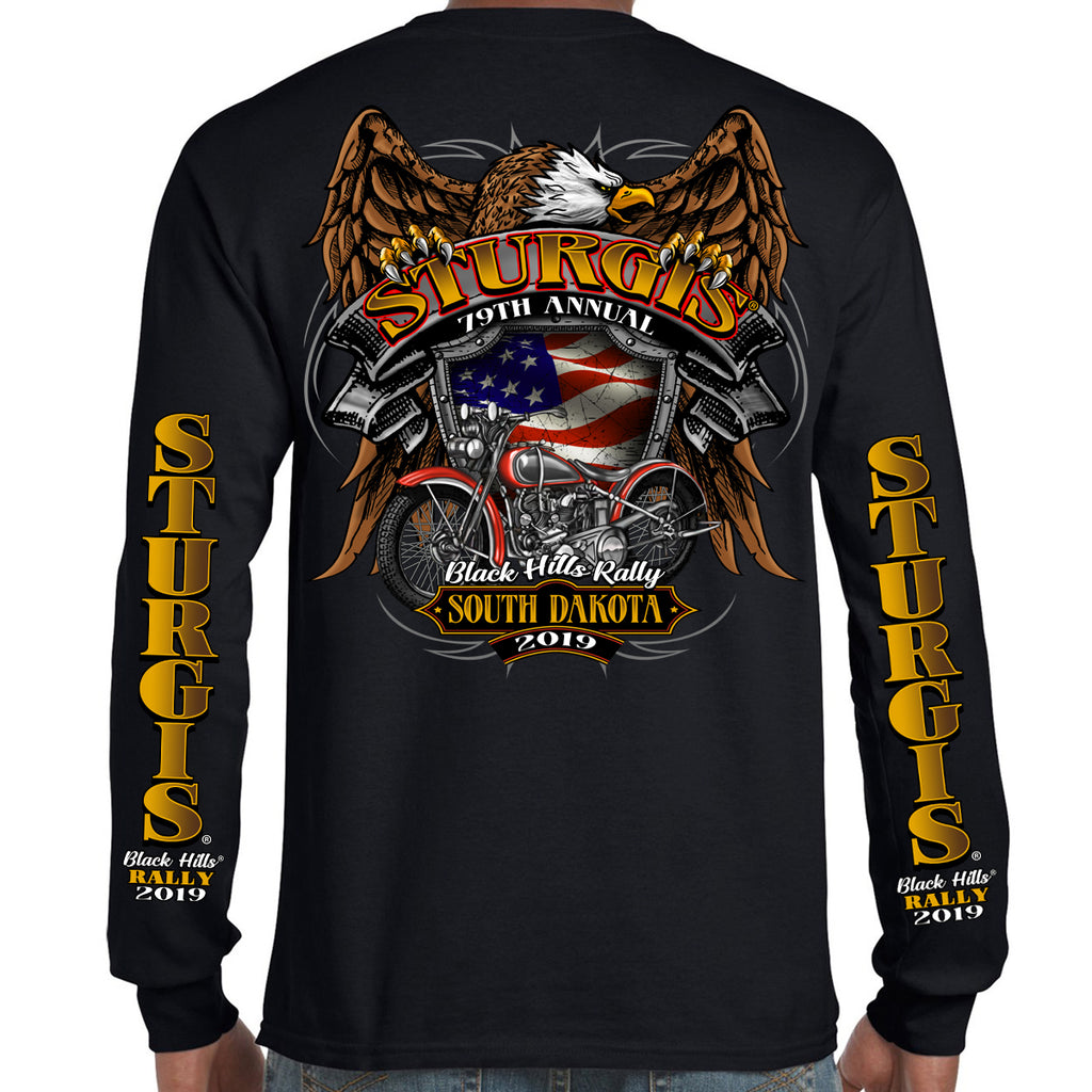 Back of 2019 Sturgis Rebel Rider Long Sleeve in Black