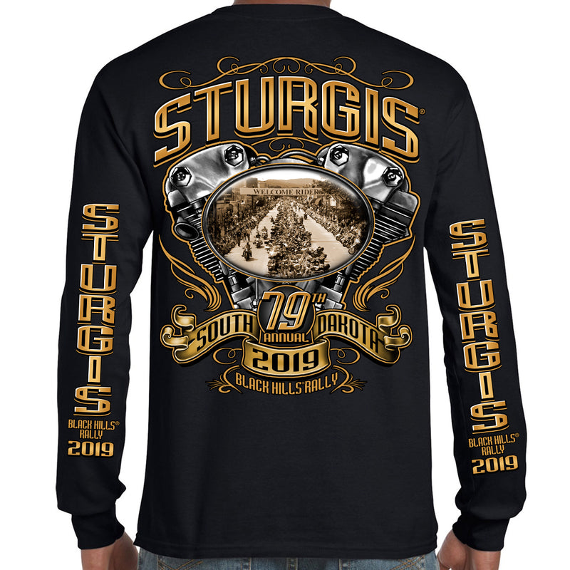 Back of 2019 Sturgis Main Street Engine Long Sleeve in Black