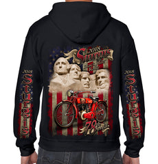 2018 Sturgis Black Hills Rally Rushmore Flag Zip-Up Hoodie