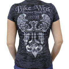 Ladies 2018 Bike Week Daytona Beach Rhinestone Celtic Cross Wings Burnout T-Shirt