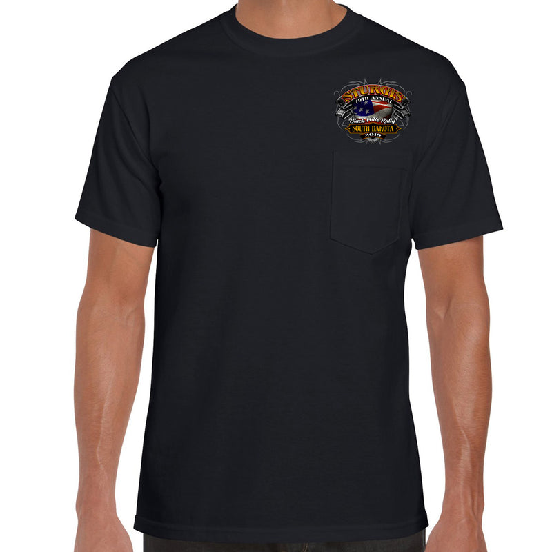 Front of 2019 Sturgis Rebel Rider Pocket T-Shirt in Black