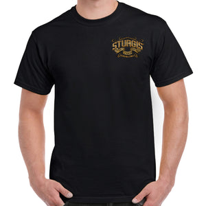 Front of 2019 Sturgis Main Street Engine T-Shirt in Black