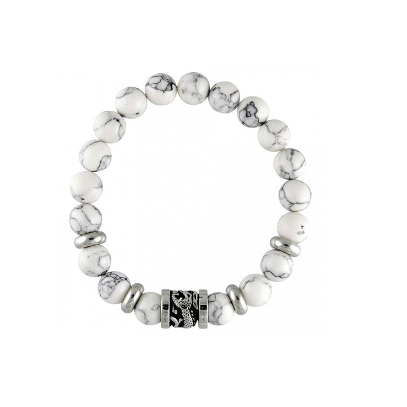 White Marble Stone Beads With Dragon Barrel Charm Stretch St. Steel Bracelet