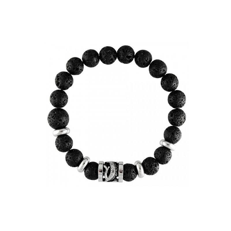Black Lava Beads With Dragon Barrel Charm Stretch St. Steel Bracelet