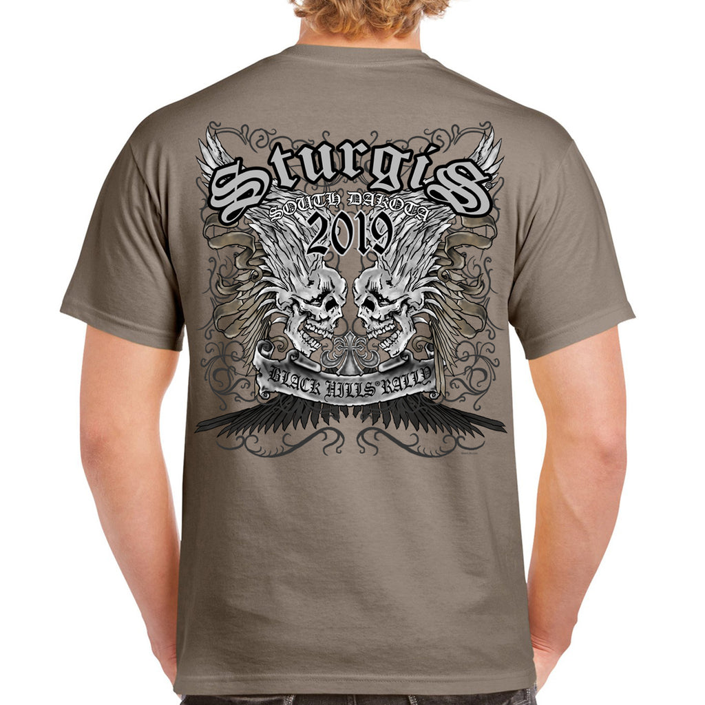 Back of 2019 Sturgis Afflicted Skulls T-Shirt in Tan