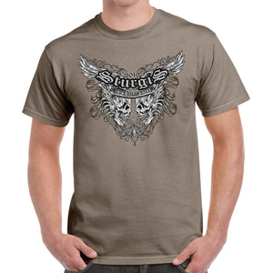 Front of 2019 Sturgis Afflicted Skulls T-Shirt in Tan