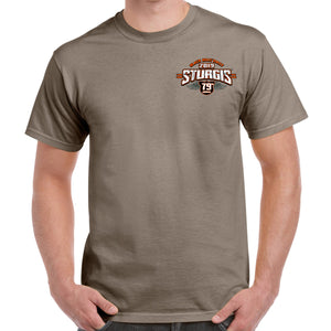 Front of 2019 Sturgis Dark Side T-Shirt in Tan