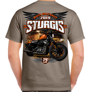 Back of 2019 Sturgis Dark Side T-Shirt in Tan