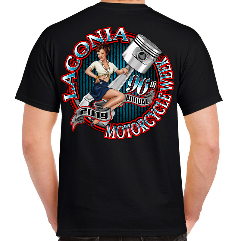 2019 Laconia Motorcycle Week Pin-Up Piston T-Shirt