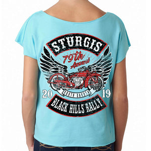 Ladies 2019 Sturgis Black Hills Rally Rocker Billy Terry Dolman T-Shirt