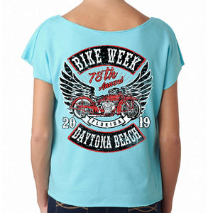 Ladies 2019 Bike Week Daytona Beach Rocker Billy Terry Dolman T-Shirt
