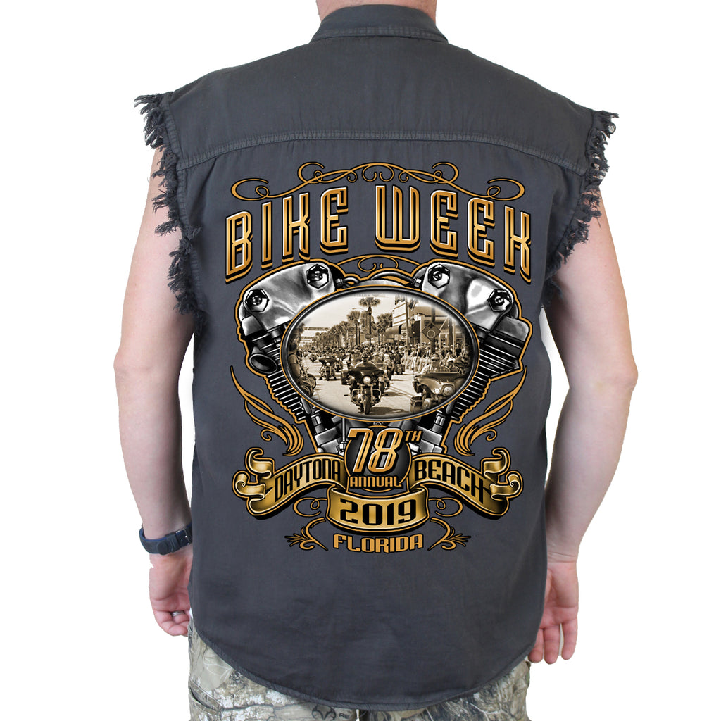 2019 Bike Week Daytona Beach Main Street Engine Cut-Off Denim