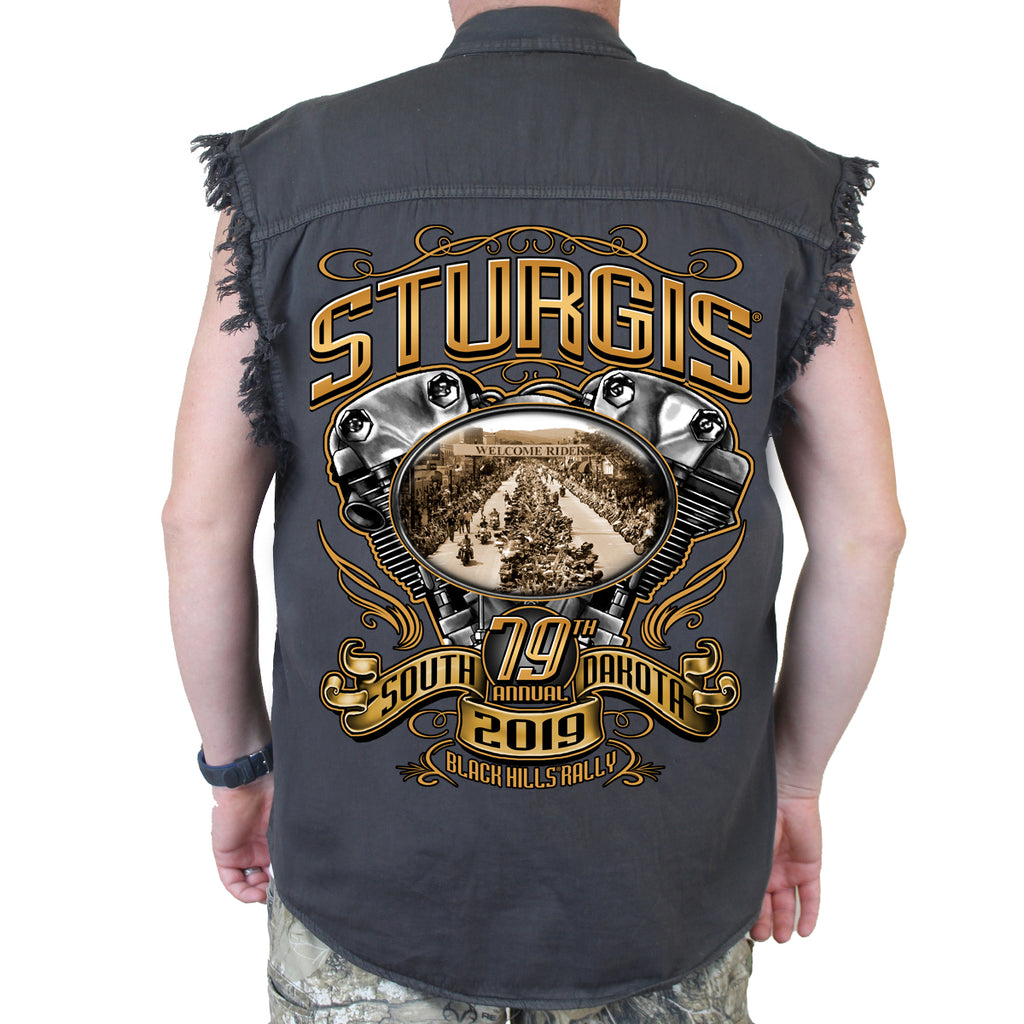 Back of 2019 Sturgis Main Street Engine Cut Off Denim in Charcoal Gray
