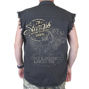 Back of 2019 Sturgis Legend Engine Cut Off Denim in Charcoal Gray