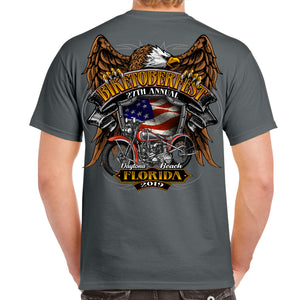 Back of 2019 Biketoberfest Rebel Rider T-Shirt in Charcoal