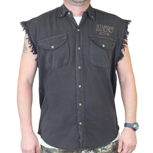 Front of 2019 Sturgis Legend Engine Cut Off Denim in Charcoal Gray