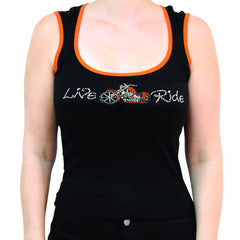 Ladies Live Ride Motorcycle Rhinestone Wide Scoop Neck Tank