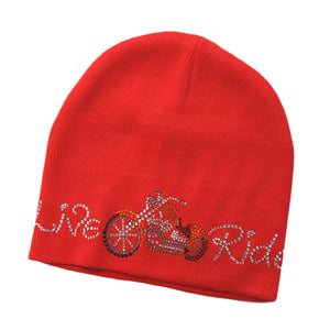 Live to Ride Motorcycle Rhinestone Beanie