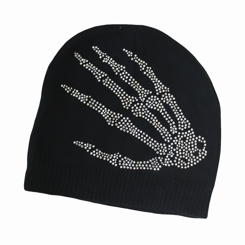 Skeleton Hands Knit Rhinestone Beanie