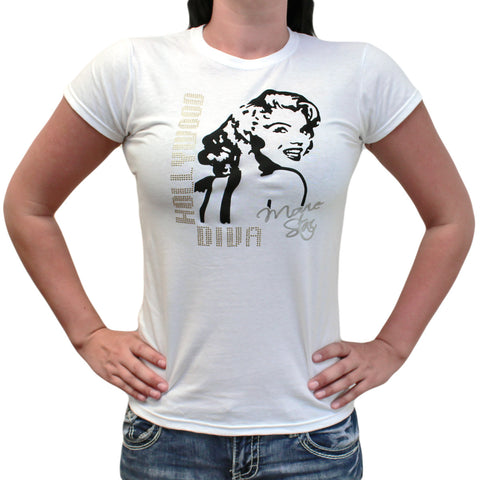 Ladies Marilyn Hollywood Diva Movie Star Crew Neck T-Shirt