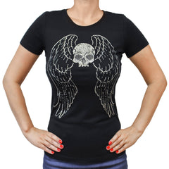 Ladies Flying Skull Rhinestones Crew Neck T-shirt
