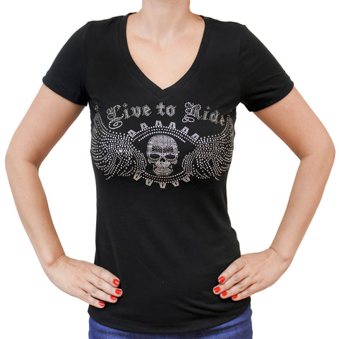 Ladies Live to Ride Gears Rhinestones V-Neck T-shirt