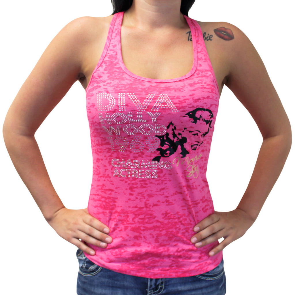 Ladies Marilyn 1969 Charming Actress Burnout Racerback Tank