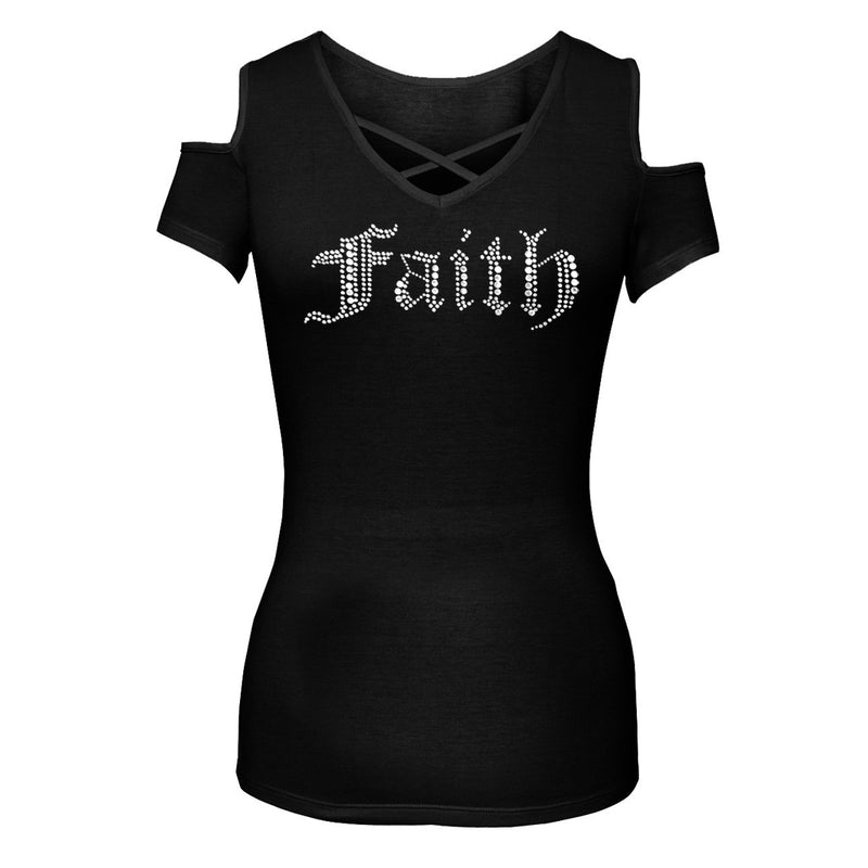 Ladies Rhinestone Faith Cut Shoulder Chest Detail Shirt