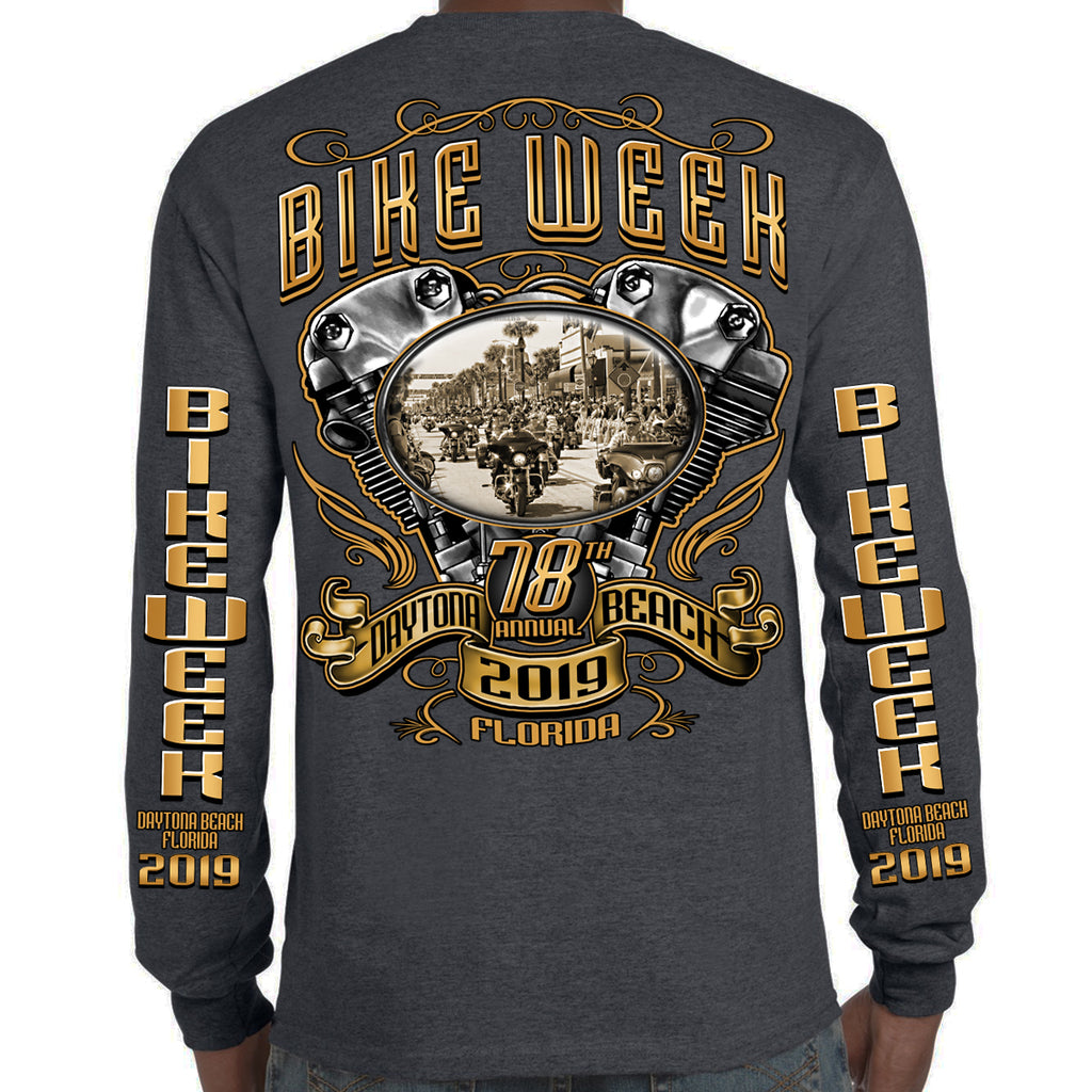 2019 Bike Week Daytona Beach Main Street Engine Long Sleeve Shirt