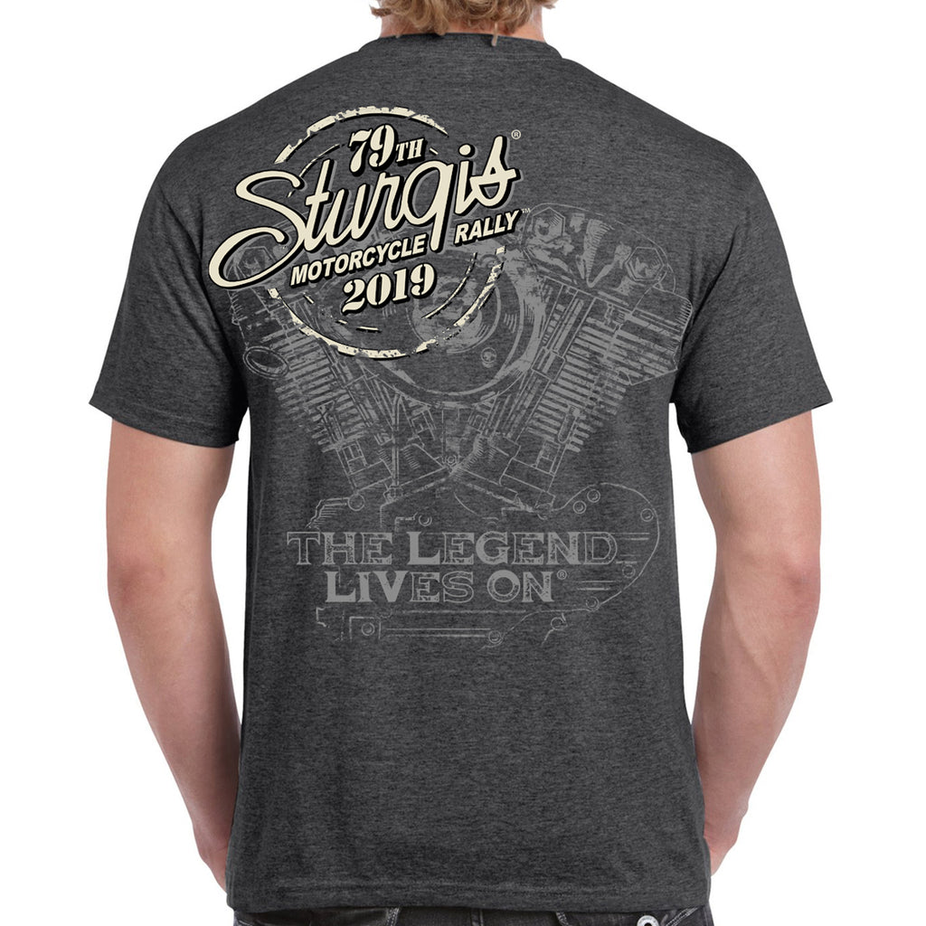 Back of 2019 Sturgis Legend Engine T-Shirt in Dark Heather Gray