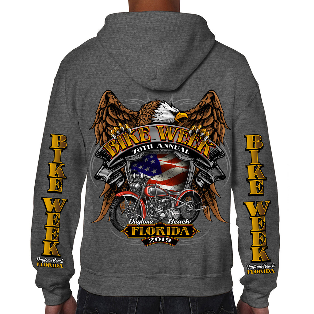 2019 Bike Week Daytona Beach Rebel Rider Zip-Up Hoodie