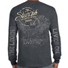 Back of 2019 Sturgis Legend Engine Long Sleeve in Dark Heather Gray