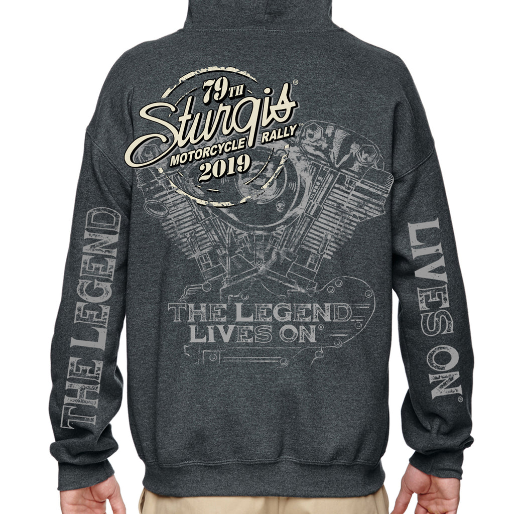 Back of 2019 Sturgis Legend Engine Hoodie in Dark Heather Gray