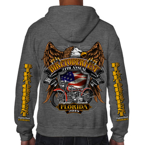 2019 Biketoberfest Daytona Beach Rebel Rider Zip-Up Hoodie