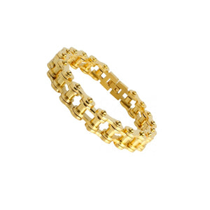 Men's Stainless Steel Gold PVD Biker Chain Bracelet