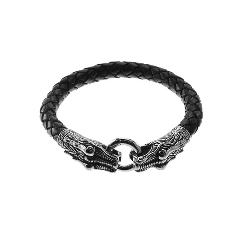 Steel Dragon Head Braided Leather Bracelet