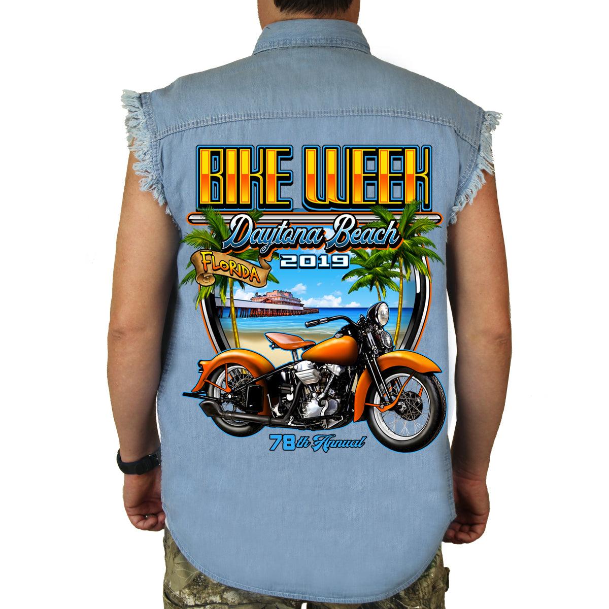 3d0696ec84 2019 Bike Week Daytona Beach Beach Shield Cut-Off Denim – Biker Life ...