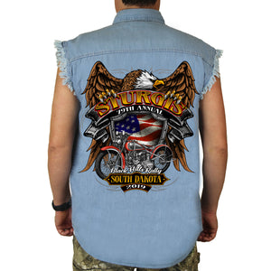 Back of 2019 Sturgis Rebel Rider Cut Off Denim in Denim Blue