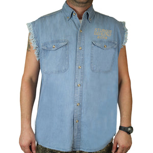 Front of 2019 Sturgis Rebel Rider Cut Off Denim in Denim Blue