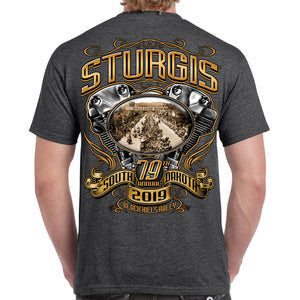 Back of 2019 Sturgis Main Street Engine T-Shirt in Dark Heather Gray