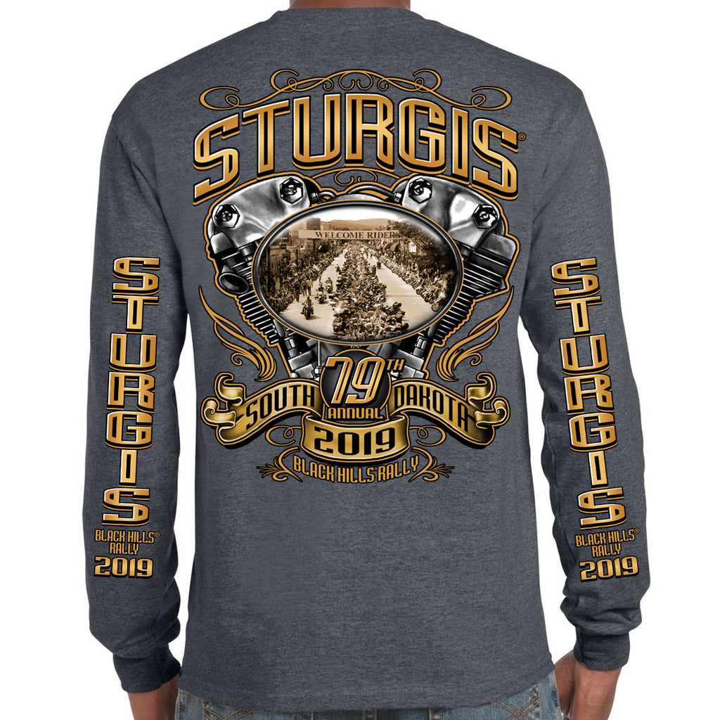 Back of 2019 Sturgis Main Street Engine Long Sleeve in Dark Heather Gray
