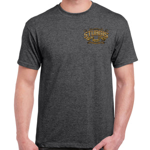 Front of 2019 Sturgis Main Street Engine T-Shirt in Dark Heather Gray