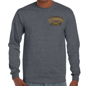 Front of 2019 Sturgis Main Street Engine Long Sleeve in Dark Heather Gray