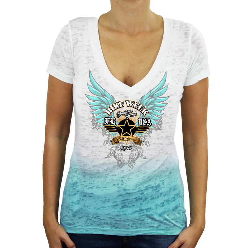 Ladies 2019 Bike Week Daytona Beach Golden Dawn Ombre Burnout V-Neck T-Shirt