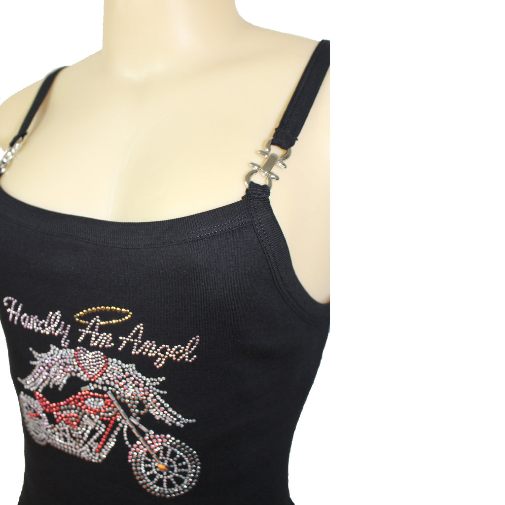 Hardly An Angel Motorcycle Rhinestone Spaghetti Strap Buckle Tank Top